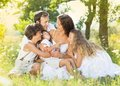 Happy family enjoying day out in nature Royalty Free Stock Photos