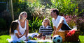 Happy family enjoying the sun in a picnic Stock Image