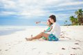 Happy family enjoying time together at the white little cute girl and her young father having fun beach Stock Image
