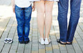 Happy family expecting baby the waits for the newborn kid Stock Image
