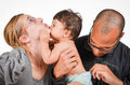 Happy family father is checking his son s diaper Stock Image