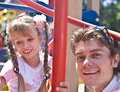 Happy family father and daughter in park. Royalty Free Stock Photo