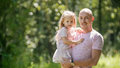 Happy family - father with daughter in summer park Royalty Free Stock Photo