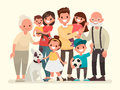 Happy family. Father, mother, grandfather,grandmother, children