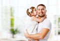 Happy family and father's day. daughter kissing and hugging dad Royalty Free Stock Photo