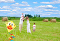 Happy family fly kite summertime Royalty Free Stock Photo