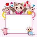 Happy family frame cartoon vector illustration Royalty Free Stock Images