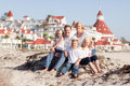 Happy Family in Front of Hotel Del Coronado Royalty Free Stock Photo