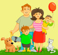 Happy family and funny with two boys and two pets Stock Photography