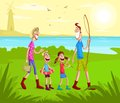 Happy family going for fishing in lake near park Royalty Free Stock Photography