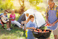 Happy family grilling meat on a barbecue Royalty Free Stock Photo
