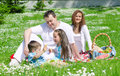 Happy family have picnic in the park Royalty Free Stock Images