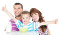 Happy family having breakfast Stock Photo