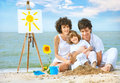 Happy family having fun on sea beach Royalty Free Stock Photo
