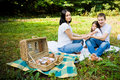 Happy family having picnic in the park summer Royalty Free Stock Photos