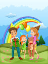 A happy family at the hilltop and a rainbow in the sky illustration of Royalty Free Stock Photography