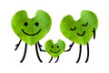 Happy family holding hands isolated with clipping paths on whit green leaf in heart shape white background Royalty Free Stock Image