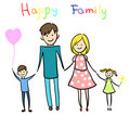 Happy family holding hands and smiling Stock Photos