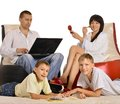 Happy family at home with laptop is resting together Stock Photo
