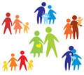Happy family icons collection multicolored Royalty Free Stock Photography