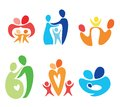 Happy family icons set abstract shapes Royalty Free Stock Images
