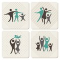Happy family icons set in vintage style Stock Photos