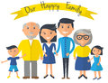 Happy family illustration. Father, mother, grandparents, son and daughter portrait with banner. Royalty Free Stock Photo