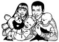 Happy family image of of four drawing on paper parents and children Royalty Free Stock Image