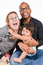Happy family interracial is laughing Stock Photography