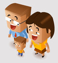 Happy family isometric vector illustration Royalty Free Stock Photography