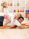 Happy family with a kid Royalty Free Stock Photo