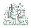 Happy family - line design illustration Royalty Free Stock Photo