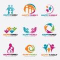 Happy Family logo vector illustration set design Royalty Free Stock Photo