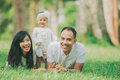 Happy family lying in the grass Royalty Free Stock Photo