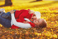 Happy family: mother and child little daughter play cuddling on Royalty Free Stock Photo