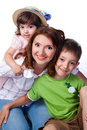 Happy family with mother and children Stock Image