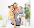 Happy family mother and children daughter and son Royalty Free Stock Photo