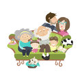 Happy family with mother dad son daughter grandfather and grandmother vector illustration Stock Image