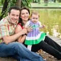 Happy family - mother daughter and father Royalty Free Stock Photos