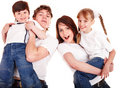 Happy family mother, father, daughter and son. Royalty Free Stock Photo