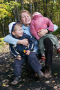 Happy family of mother and two sons Stock Photos