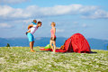 Happy family in mountains camping Royalty Free Stock Photography
