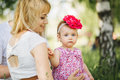 Happy family on the nature of mother daughter Royalty Free Stock Photo