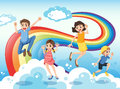 A happy family near the rainbow illustration of Stock Images