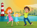 A happy family near the river across the lighthouse illustration of Royalty Free Stock Images
