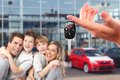 Happy family with a new car keys driving and transportation concept Royalty Free Stock Photography