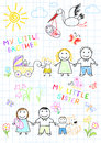 Happy family with a newborn vector sketch on notebook page Stock Images