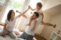 Happy family with one daughter spending time at home. Royalty Free Stock Photo