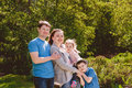 Happy Family Outdoors Mother Father Son Daughter Royalty Free Stock Photo