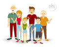 Happy family people flat illustration Royalty Free Stock Photo